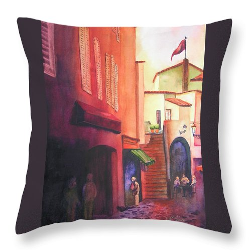 Europe Throw Pillow featuring the painting Flag Over St. Tropez by Karen Stark