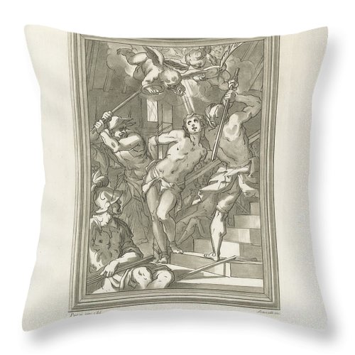 Throw Pillow featuring the drawing Flagellation Of A Saint by Andrea Scacciati After Giovanni Battista Paggi