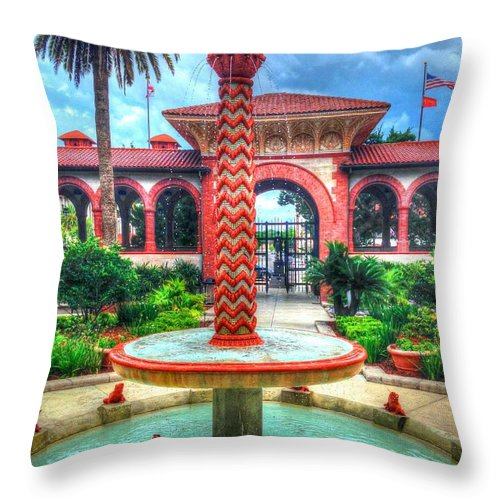 Flagler College Throw Pillow featuring the photograph Flagler College Fountain by Debbi Granruth