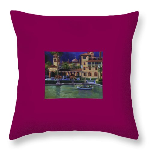 St. Augustine\'s Flagler College Campus Throw Pillow featuring the painting Flagler College II by Christine Cousart