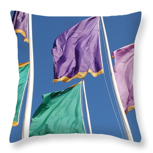 Flags Throw Pillow featuring the photograph Flags by Rob Hans