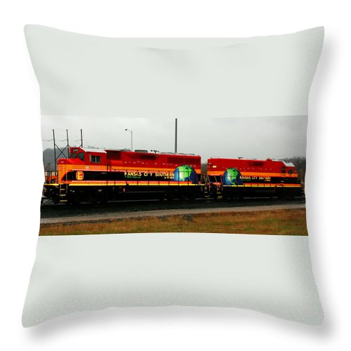 Train Throw Pillow featuring the photograph Flagships Of The Kc Southern Fleet by David Dunham