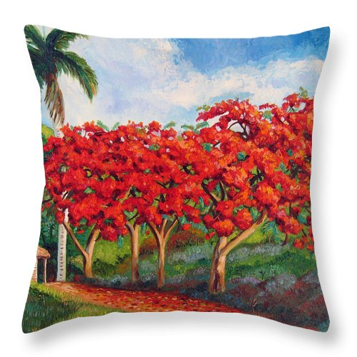 Cuban Art Throw Pillow featuring the painting Flamboyans by Jose Manuel Abraham