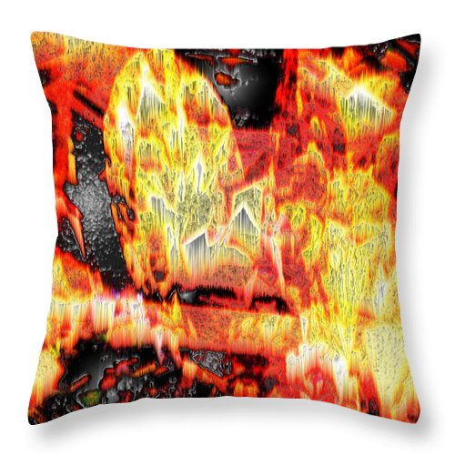 Abstract Throw Pillow featuring the photograph Flame Gems by Seth Weaver