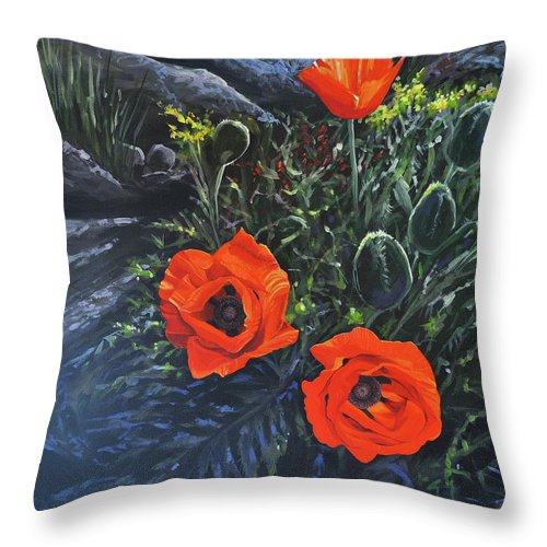 Poppy Throw Pillow featuring the painting Flame of the West by Hunter Jay