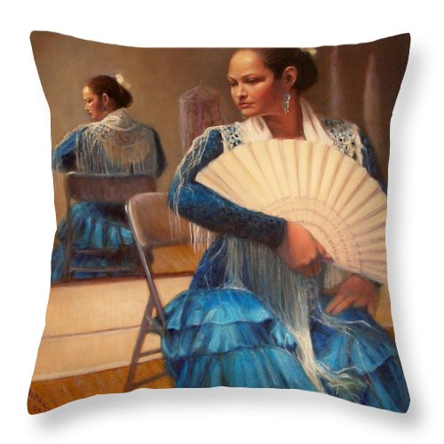 Realism Throw Pillow featuring the painting Flamenco 1 by Donelli DiMaria