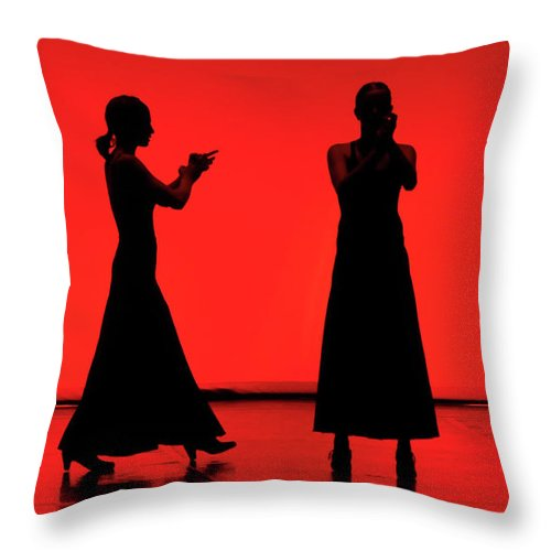 Red Throw Pillow featuring the photograph Flamenco Red An Black Spanish Passion For Dance And Rithm by Pedro Cardona Llambias