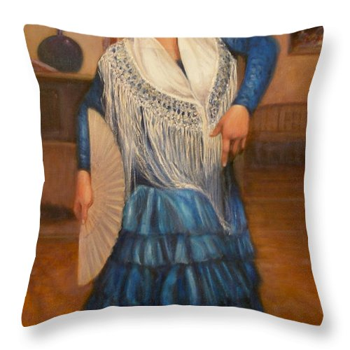 Realism Throw Pillow featuring the painting Flamenco 2 by Donelli DiMaria