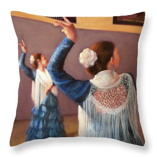 Realism Throw Pillow featuring the painting Flamenco 7 by Donelli DiMaria