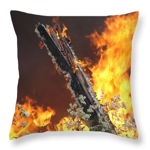 Fire Wood Flames Flowers Throw Pillow featuring the photograph Flames Of Age by Luciana Seymour