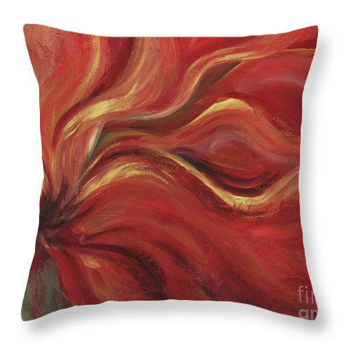 Red Throw Pillow featuring the painting Flaming Flower by Nadine Rippelmeyer