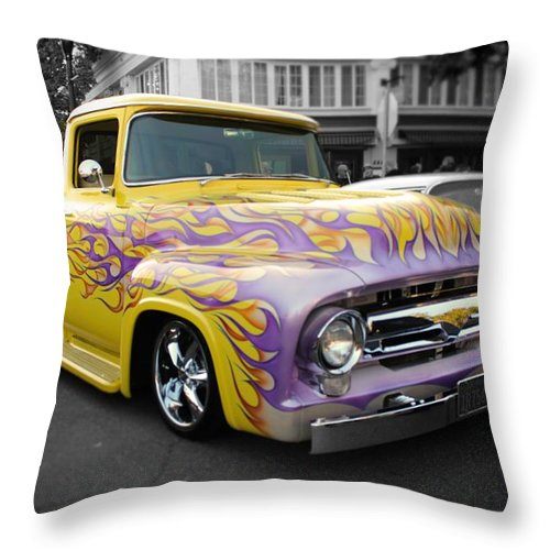 Fire Throw Pillow featuring the photograph Flaming Hot Rod by Jesse Sanchez