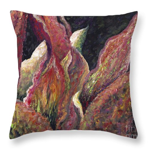 Leaves Throw Pillow featuring the painting Flaming Leaves by Nadine Rippelmeyer