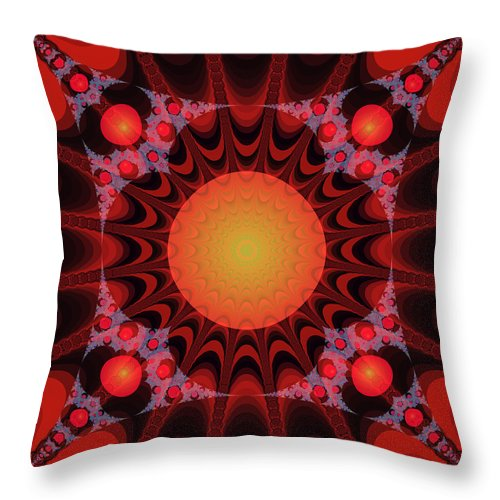 Fractal Throw Pillow featuring the digital art Flaming Sol by Frederic Durville