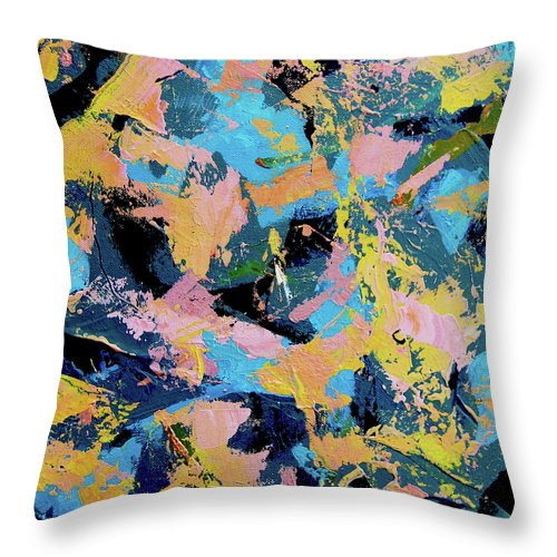 Abstract Throw Pillow featuring the painting Flamingo Dash by Dave Jones