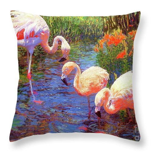 Colorful Throw Pillow featuring the painting Flamingo Tangerine Dream by Jane Small