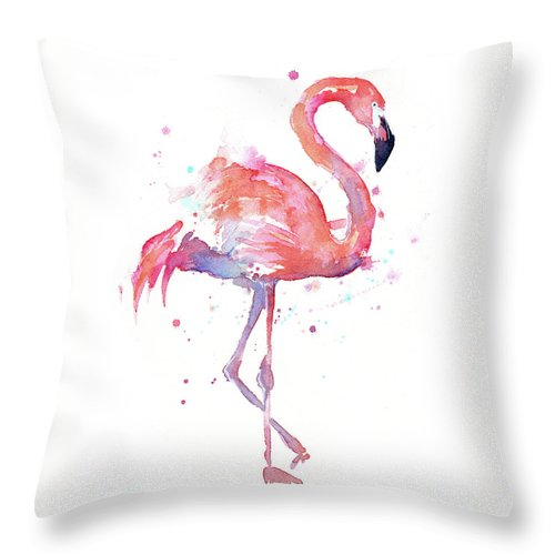 Flamingo Throw Pillow featuring the painting Flamingo Watercolor Facing Right by Olga Shvartsur