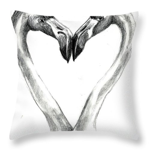 Flamingos Throw Pillow featuring the drawing Flamingos In Love by Carol Allen Anfinsen