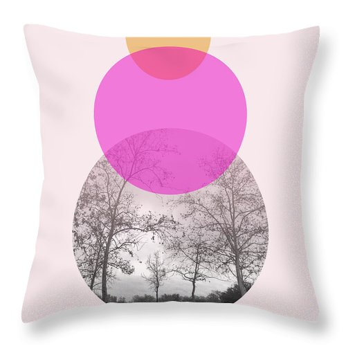 Modern Throw Pillow featuring the mixed media Flare In Pink And Yellow- Art By Linda Woods by Linda Woods