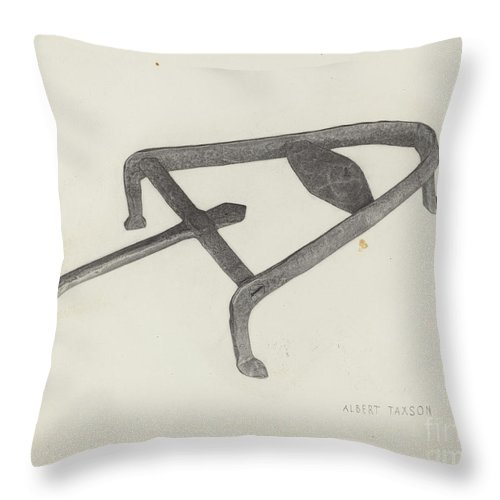 Throw Pillow featuring the drawing Flat Iron Holder by Albert Taxson