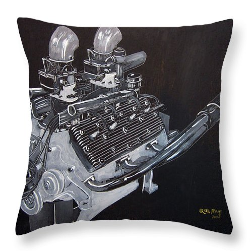 Flathead Offenhauser V8 Throw Pillow featuring the painting Flathead Offenhauser V8 by Richard Le Page