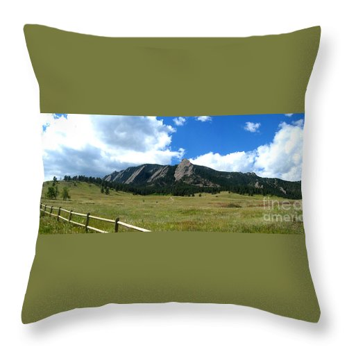 Flatiron Throw Pillow featuring the photograph Flatirons Panorama by Thomas Marchessault