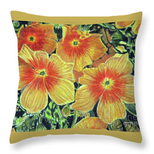 Fuqua - Artwork Throw Pillow featuring the drawing Flax by Beverly Fuqua