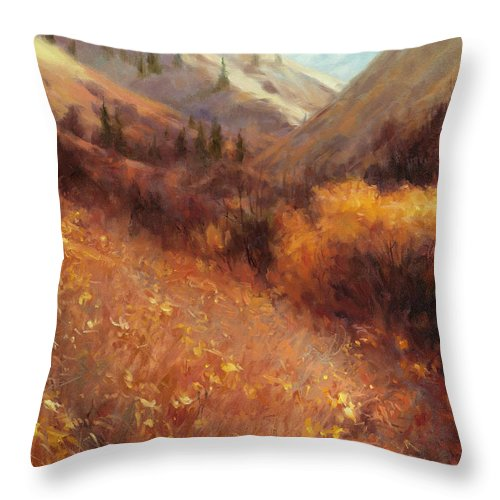 Autumn Throw Pillow featuring the painting Flecks Of Gold by Steve Henderson
