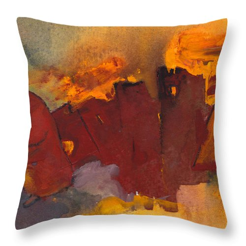Fantasy Throw Pillow featuring the painting Fleeing The Inferno by Miki De Goodaboom