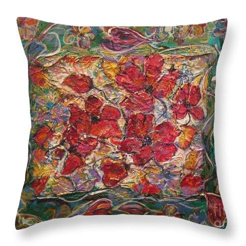 Floral Throw Pillow featuring the painting Fleur De Mon Ami by Jacqui Hawk
