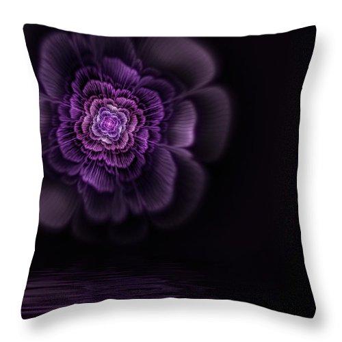 Flame Fractal Throw Pillow featuring the digital art Fleur by John Edwards
