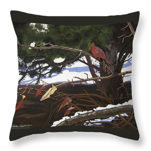 Landscape Throw Pillow featuring the painting Flickering Flames by Peter Muzyka