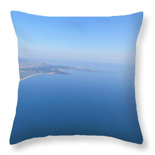 Flight Sea Panorama Seacoast Throw Pillow featuring the photograph Flight by Despin Mitrev