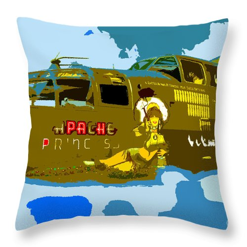 Bomber Throw Pillow featuring the painting Flight Of The Apache Princess by David Lee Thompson