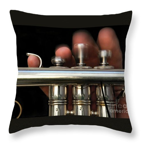 Trumpet Throw Pillow featuring the photograph Flight Of The Bumblebee by Dan Holm
