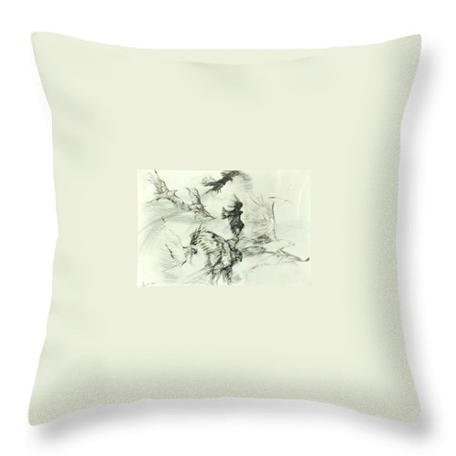 Birds Throw Pillow featuring the drawing Flight Of The Eagle by Arlene Rabinowitz