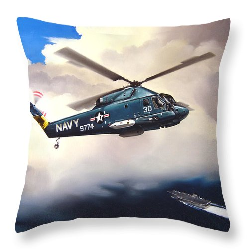 Military Throw Pillow featuring the painting Flight Of The Seasprite by Marc Stewart