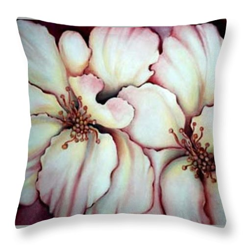 White Flower Throw Pillow featuring the painting Flighty Floral by Jordana Sands