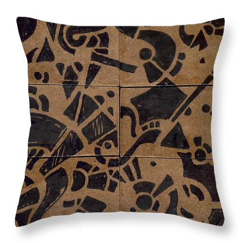 Pattern Throw Pillow featuring the drawing Flipside 1 Panel E by Joseph A Langley