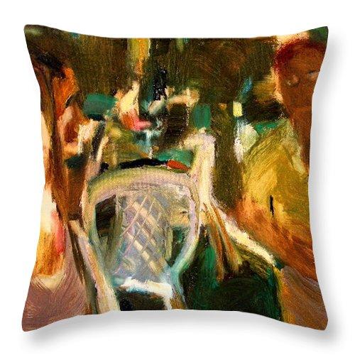 Dornberg Throw Pillow featuring the painting Flirting by Bob Dornberg