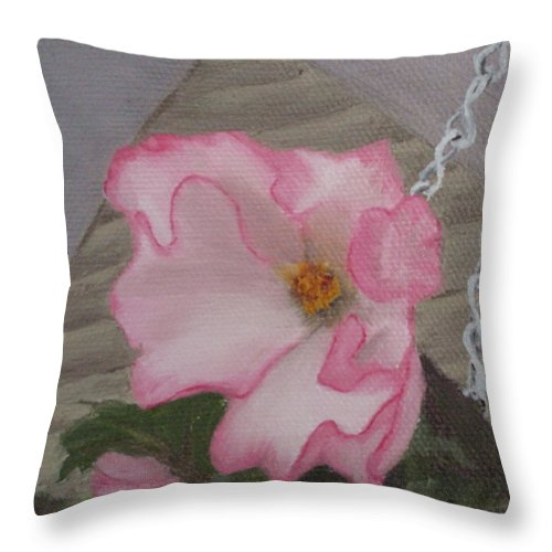 Flower Throw Pillow featuring the painting Flirty Begonia by Lea Novak