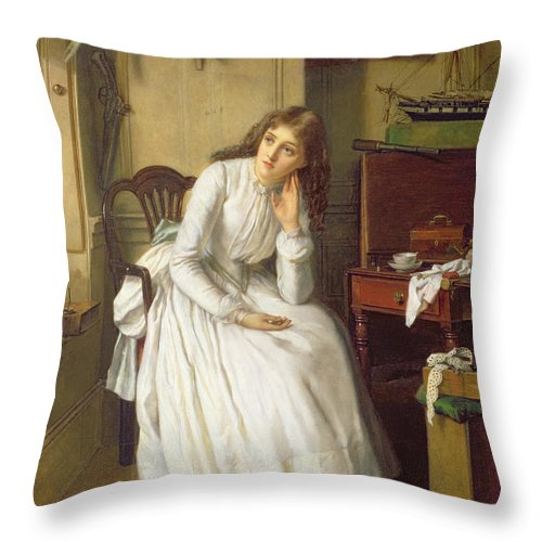 Dickens Throw Pillow featuring the painting Flo Dombey In Captain Cuttle's Parlour by William Maw Egley