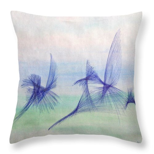 Abstract Throw Pillow featuring the mixed media Float by Steve Karol