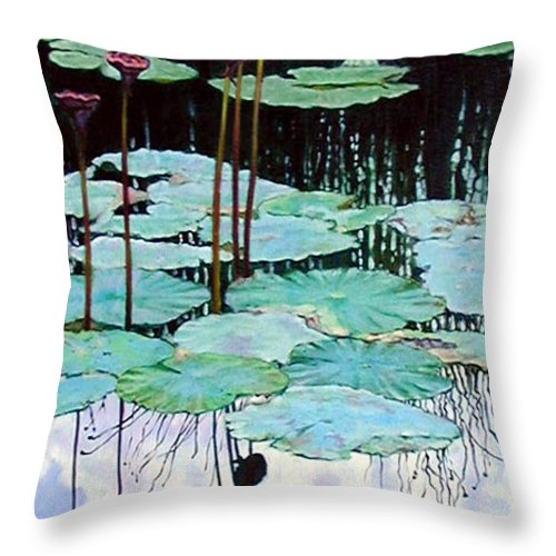 Water Lilies Throw Pillow featuring the painting Floating - Reflective Beauty by John Lautermilch