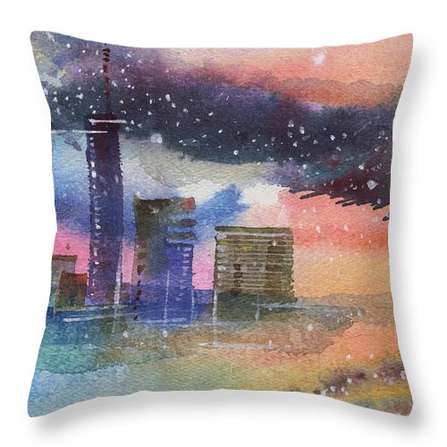 Townscape Throw Pillow featuring the painting Floating City by Anil Nene
