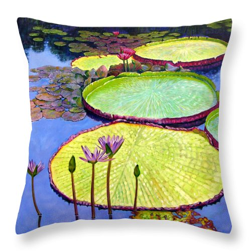 Garden Pond Throw Pillow featuring the painting Floating Galaxies by John Lautermilch