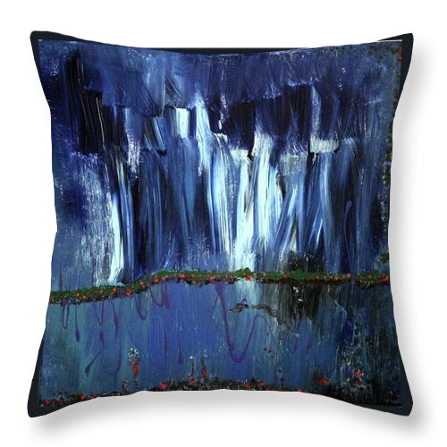 Blue Throw Pillow featuring the painting Floating Gardens by Pam Roth O'Mara