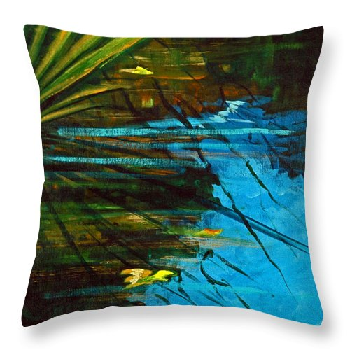 Acrylic Throw Pillow featuring the painting Floating Gold On Reflected Blue by Suzanne McKee