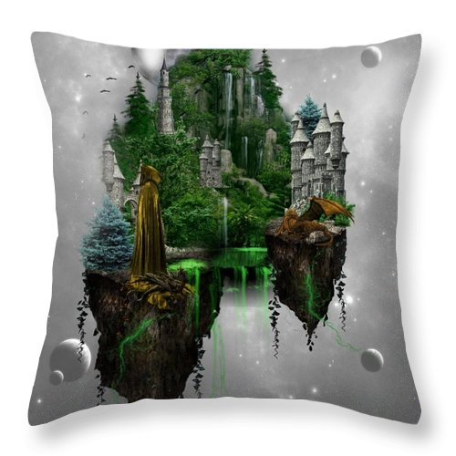 Ali Oppy Throw Pillow featuring the digital art Floating Kingdom by Ali Oppy