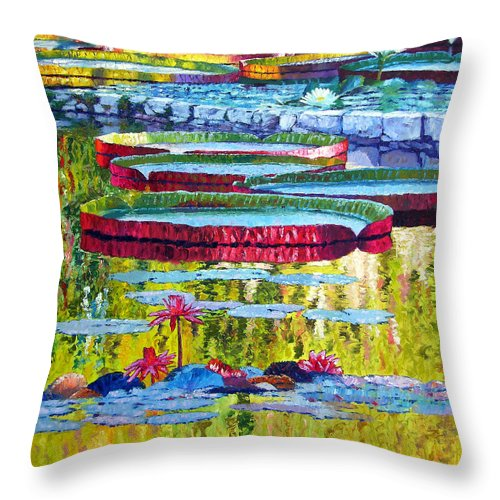 Lily Pond Throw Pillow featuring the painting Floating Parallel Universes by John Lautermilch